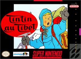 Box cover for Tintin in Tibet on the Nintendo SNES.