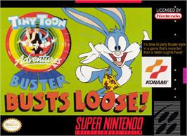 Box cover for Tiny Toon Adventures: Buster Busts Loose! on the Nintendo SNES.