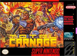 Box cover for Total Carnage on the Nintendo SNES.