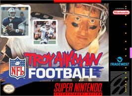 Box cover for Troy Aikman NFL Football on the Nintendo SNES.