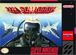 Box cover for U.N. Squadron on the Nintendo SNES.