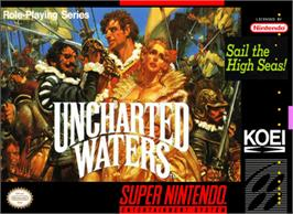 Box cover for Uncharted Waters on the Nintendo SNES.