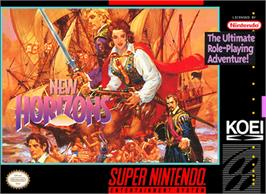 Box cover for Uncharted Waters 2: New Horizons on the Nintendo SNES.