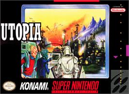 Box cover for Utopia: The Creation of a Nation on the Nintendo SNES.
