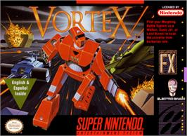Box cover for Vortex on the Nintendo SNES.