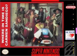 Box cover for Where in Time is Carmen Sandiego? on the Nintendo SNES.