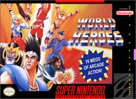 Box cover for World Heroes on the Nintendo SNES.