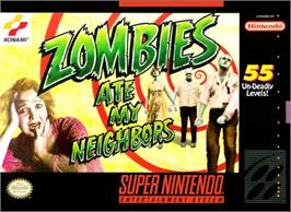 Box cover for Zombies Ate My Neighbors on the Nintendo SNES.