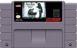 Cartridge artwork for Addams Family Values on the Nintendo SNES.