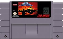 Cartridge artwork for Aero Fighters on the Nintendo SNES.