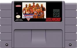 Cartridge artwork for American Gladiators on the Nintendo SNES.