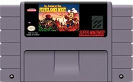 Cartridge artwork for An American Tail: Fievel Goes West on the Nintendo SNES.