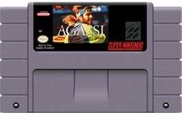 Cartridge artwork for Andre Agassi Tennis on the Nintendo SNES.