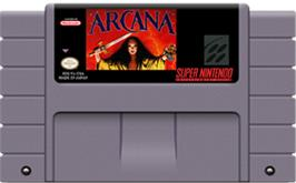 Cartridge artwork for Arcana on the Nintendo SNES.