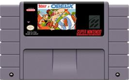 Cartridge artwork for Asterix and Obelix on the Nintendo SNES.