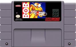 Cartridge artwork for B.O.B. on the Nintendo SNES.