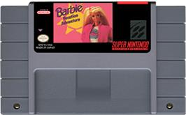 Cartridge artwork for Barbie Vacation Adventure on the Nintendo SNES.
