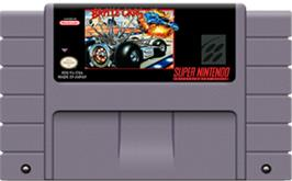 Cartridge artwork for Battle Cars on the Nintendo SNES.
