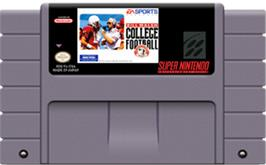 Cartridge artwork for Bill Walsh College Football on the Nintendo SNES.