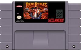 Cartridge artwork for Brawl Brothers: Rival Turf! 2 on the Nintendo SNES.