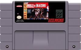 Cartridge artwork for Bulls vs. Blazers and the NBA Playoffs on the Nintendo SNES.
