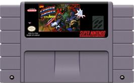 Cartridge artwork for Captain America and the Avengers on the Nintendo SNES.