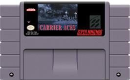 Cartridge artwork for Carrier Aces on the Nintendo SNES.