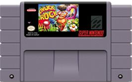 Cartridge artwork for Chuck Rock on the Nintendo SNES.