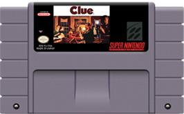 Cartridge artwork for Clue on the Nintendo SNES.