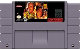 Cartridge artwork for Cutthroat Island on the Nintendo SNES.