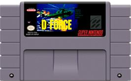 Cartridge artwork for D-Force on the Nintendo SNES.