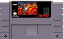 Cartridge artwork for DOOM on the Nintendo SNES.