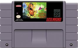 Cartridge artwork for Disney's Timon & Pumbaa's Jungle Games on the Nintendo SNES.