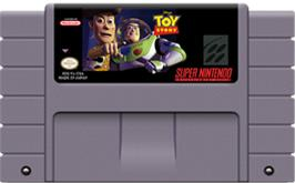 Cartridge artwork for Disney's Toy Story on the Nintendo SNES.