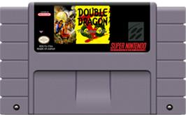 Cartridge artwork for Double Dragon V: The Shadow Falls on the Nintendo SNES.