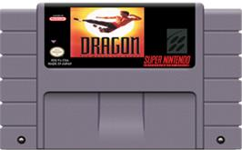 Cartridge artwork for Dragon: The Bruce Lee Story on the Nintendo SNES.