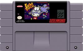 Cartridge artwork for Eek! the Cat on the Nintendo SNES.