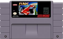 Cartridge artwork for F1ROC: Race of Champions on the Nintendo SNES.