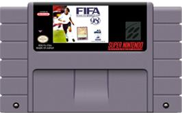 Cartridge artwork for FIFA 98: Road to World Cup on the Nintendo SNES.