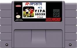 Cartridge artwork for FIFA International Soccer on the Nintendo SNES.