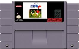 Cartridge artwork for FIFA Soccer '96 on the Nintendo SNES.