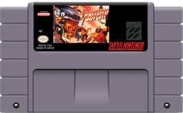 Cartridge artwork for Fighter's History on the Nintendo SNES.