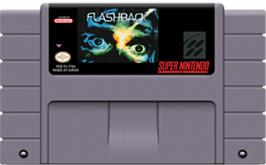 Cartridge artwork for Flashback: The Quest for Identity on the Nintendo SNES.