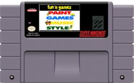 Cartridge artwork for Fun 'N Games on the Nintendo SNES.