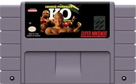 Cartridge artwork for George Foreman's KO Boxing on the Nintendo SNES.