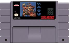 Cartridge artwork for Gods on the Nintendo SNES.