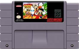 Cartridge artwork for Goof Troop on the Nintendo SNES.