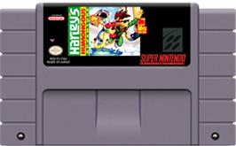 Cartridge artwork for Harley's Humongous Adventure on the Nintendo SNES.