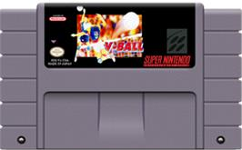 Cartridge artwork for Hyper V-Ball on the Nintendo SNES.
