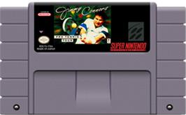 Cartridge artwork for Jimmy Connors Pro Tennis Tour on the Nintendo SNES.